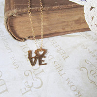 POSTAL love stamp brass necklace ( gold) bridal shower gift aniversary
