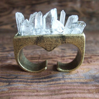 Quartz Crystal Overgrowth Knuckle Ring