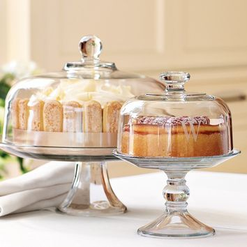 Monogrammed Small Covered Pedestal Stand