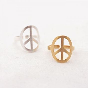 peace ring adjustablein gold  by bythecoco on Zibbet