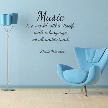 Wall Decal Quote Sticker Vinyl Art Removable Lettering Music Stevie Wonder (J84)