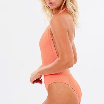 Bound by Bond Eye Neon Coral One Piece - The Mode