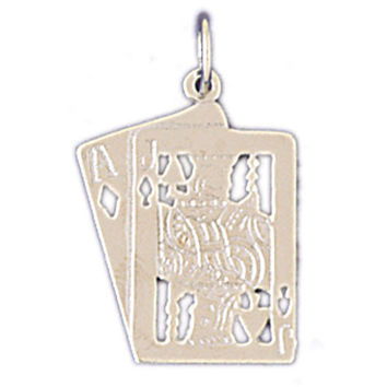 14K WHITE GOLD PLAYING CARDS CHARM #11224