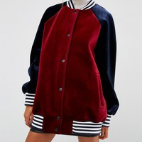 ASOS Bonded Bomber Jacket in Velvet with Tipped Rib