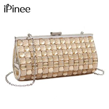 iPinee Women PU Clutch Bag Rhinestone Evening Purse Ladies Day Clutch Chain Handbag Bridal Wedding Party Bag Bolsa Mujer