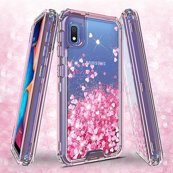 Samsung Galaxy A10e Case,Hard Clear Glitter Sparkle Flowing Liquid Heavy Duty Shockproof Three Layer Protective Bling Girls Women Cases for Samsung Galaxy A10e - Pink