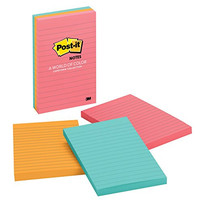 Post-it Notes, 4 in x 6 in, Cape Town Collection, Lined, 3 Pads/Pack, 100 Sheets/Pad (660-3AN)