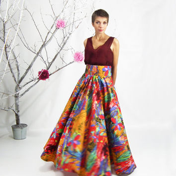Floral MAXI SKIRT - Long Skirt, Plus Size Skirt, High Waist Floor Lenght Skirt, Bridesmaid Skirt,A-line Maxi, Ball Skirt, Circle Skirt, Boho