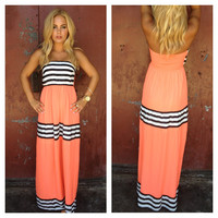 Coral Stripe Strapless Cheryl Maxi Dress