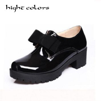 Fashion Bow Slip-on Women Oxford Shoes Ladies Casual Low Heeled Oxfords Vintage England Style Oxford Shoes For Women Size 34-43