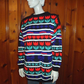 Vintage Ugly Valentine's Day Sweater / Valentine / Size 13 / Oversized Large to XL / Hearts Bows Tulips