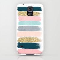 Zara - Brushstroke glitter trendy girly art print and phone case for young trendy girls Galaxy S5 Case by CharlotteWinter