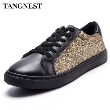 Tangnest Bling Men Casual Shoes New 2017 Charm Pu Leather Men's Flats Youth's Lace Up Vulcanize Shoes Waterproof Flats  XMB612