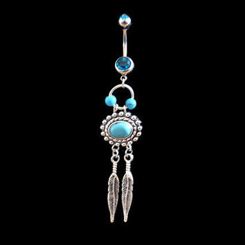 Dream Catcher Belly Ring with Blue Rhinestones and Turquoise Beads