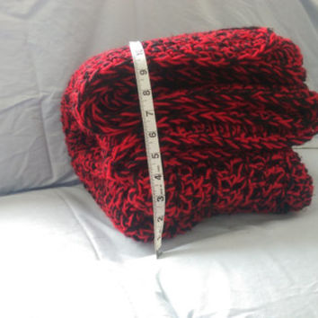 "Crochet Oversized Lap blanket Red and Black 48"" X 61"" Handmade"