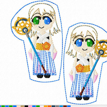 DIGITAL FILE Yuna Summonervideo game final fantasy felt clippies 4x4 5x7 ITH Machine Embroidery Design download felties x ten