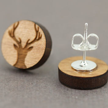 Deer Stud Earrings : Cherry Wood Earrings, Antler, Hunter, Hunting, Camo, Silhouette, Wildlife, Round, 12mm