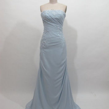 2013 Affordable Summer Beaded Strapless Long Blue Chiffon Bridesmaid dress/ Wedding guest dress/Evening/Party/Garden/Beach dresses