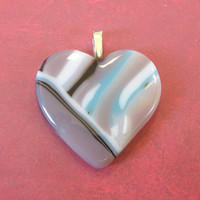 Purple, Blue, Black, and White Heart Pendant, Jewelry - Sweet Love - 4118 -1