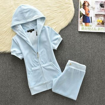 Juicy Couture Original Velour Tracksuit 613 2pcs Women Suits Sky Blue