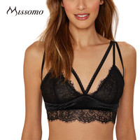Missomo 2017 New Fashion Women Black Sexy Push Up Lace Adjustable Wireless Bralettes Semi-sheer Underwear Soft Breathable Bras