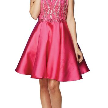 Juliet 785 Fuchsia A-Line Short Prom Dress Cut Out Back Halter Neckline