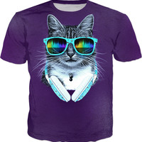 Cool Cat With Glasses And Headphones - Men T-Shirt, Tank And Sweatshirt
