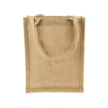 Burlap Jute Tote Bag with Gusset Handle, 11-inch