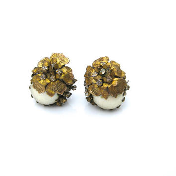 Miriam Haskell Clip Earrings, Signed Miriam Haskell Pearl Earrings Wedding Earrings, High End Jewelry, Rhinestone Earrings, Designer Jewelry