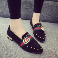 GUCCI autumn new wild rivets shallow mouth flat peas shoes fashion pointed casual shoes Black
