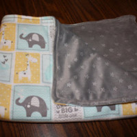 Baby Boy Blanket w/ Giraffes & Elephants