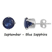 .925 Sterling Silver Brilliant Round Cut Blue Sapphire CZ Stud Earrings in 2mm-10mm