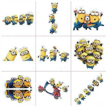 Car styling reflective decals super funny Minions anime 3d vinyl stickers on the wall & door window glass decoration accessories