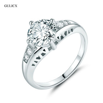 GULICX 2016 Cheap Fashion  White Gold Plated Ring Crystal CZ Zirconia Her Engagement Ring Jewelry Wedding Ring for Women R120