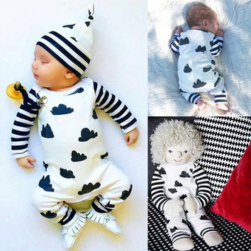 Newborn Baby Boy Clothes Striped Cotton Romper Jumpsuit Outfits Printed Baby Boys Rompers 0-18M