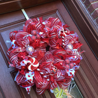 Christmas Wreath, Red White Peppermint Deco Mesh Wreath, Xmas Wreath