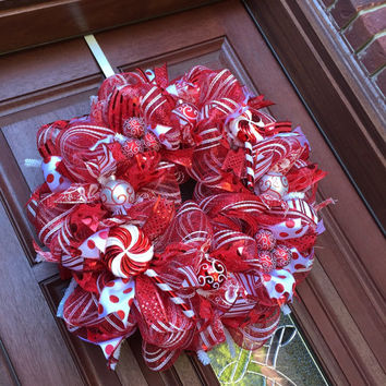 Christmas Wreath Red White Peppermint From Whats On Your Door