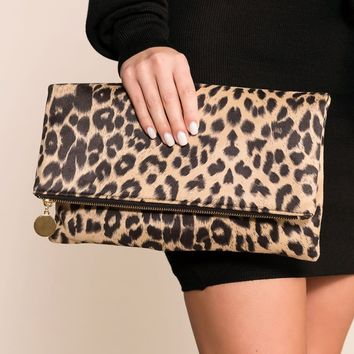 Kennedy Taupe Leopard Clutch Purse