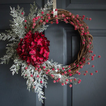 Christmas Hydrangea Wreaths with Flocked Cedar Boughs and Frosted Berries, Holiday Door Wreath, Seasonal Wreaths, Housewarming Gift