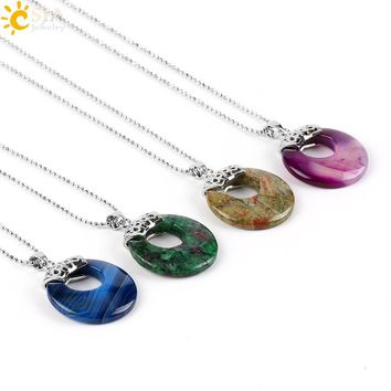 CSJA Natural Gem Stone Necklace & Pendants Hollow Out Circle Lapis Lazuli Unakite Onyx Reiki Healing Women Men Jewelry Gift E518