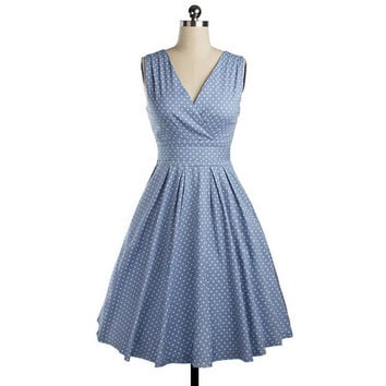 Women Summer Dress Bow V Neck Dress Vintage Retro Robe Vestidos Pin up Swing Polka Dots Rockabilly Sleeveless Pleated Dresses