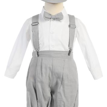 Light Grey Linen Blend Suspender Knicker Shorts Set 3M-4T