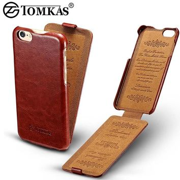 Tomkas Flip Case For iPhone 6 6S Coque Luxury PU Leather Phone Back Cover For iPhone 6S Plus Cases Business Retro Style