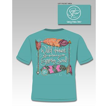 SALE Sassy Frass Wild Heart Gypsy Soul Arrow Feathers Comfort Colors Bright Girlie T Shirt
