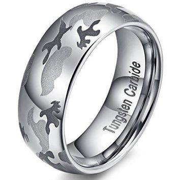8mm Camouflage Hunting 100% Tungsten Carbide Ring Camo Wedding Engagement Band Domed Design (Platinum)
