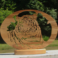 Tiger Fretwork Table Art