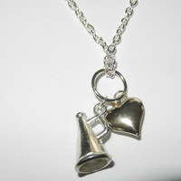 Silver Cheerleading and Heart Charm Necklace