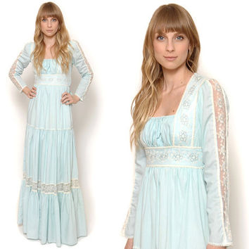70s Gunne Sax Dress Pastel Blue Prairie Dress Maxi Gown Lace Sleeves Tiered Skirt Peasant Dress 1970s Boho / Size XS Extra Small