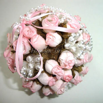 Flower girl Kissing Ball, pink Flower ball, Pomander for wedding, Flower girl accessory