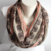 Sloth Scarf, Sloth Printed Infinity Scarf, Sloth Fashion Accessories, Gift For Her